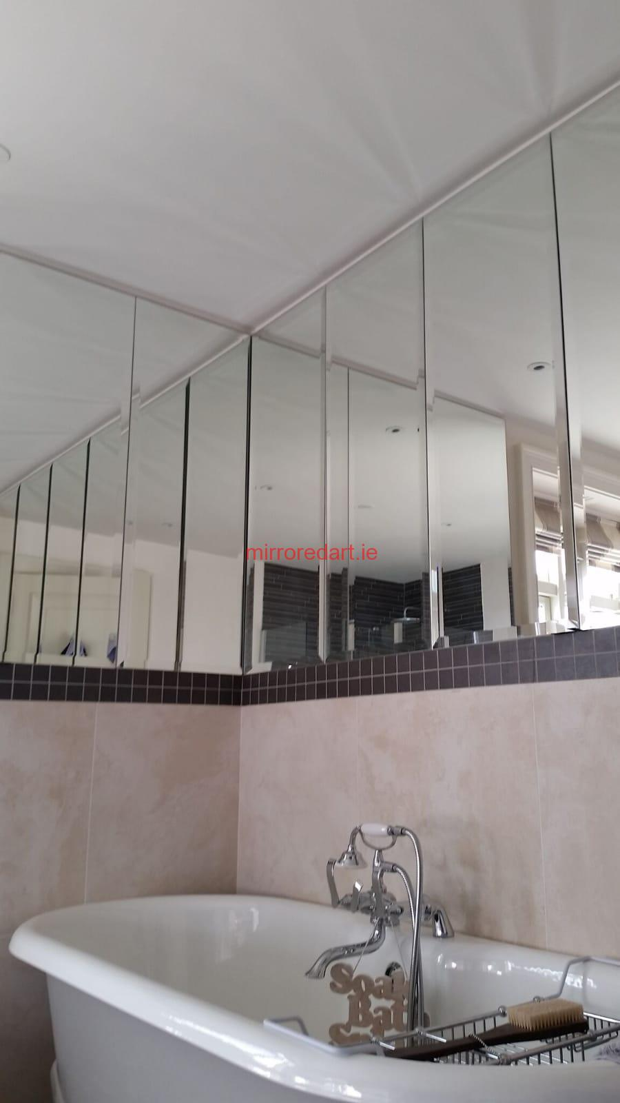 Bevelled mirrors in a vertical format for a Bathroom in Brighton road Leopardstown.