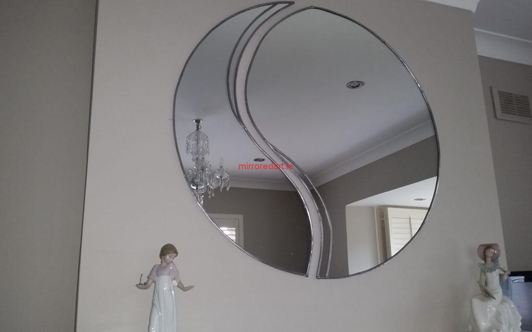 Two piece tear drop circular mirror  combination. Malahide.