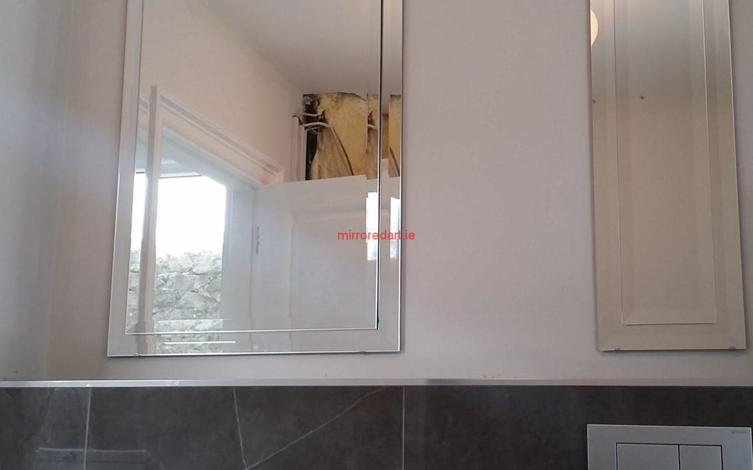 Master ensuite bathroom mirror double bevel edging. Landsdonwe Dublin 2.