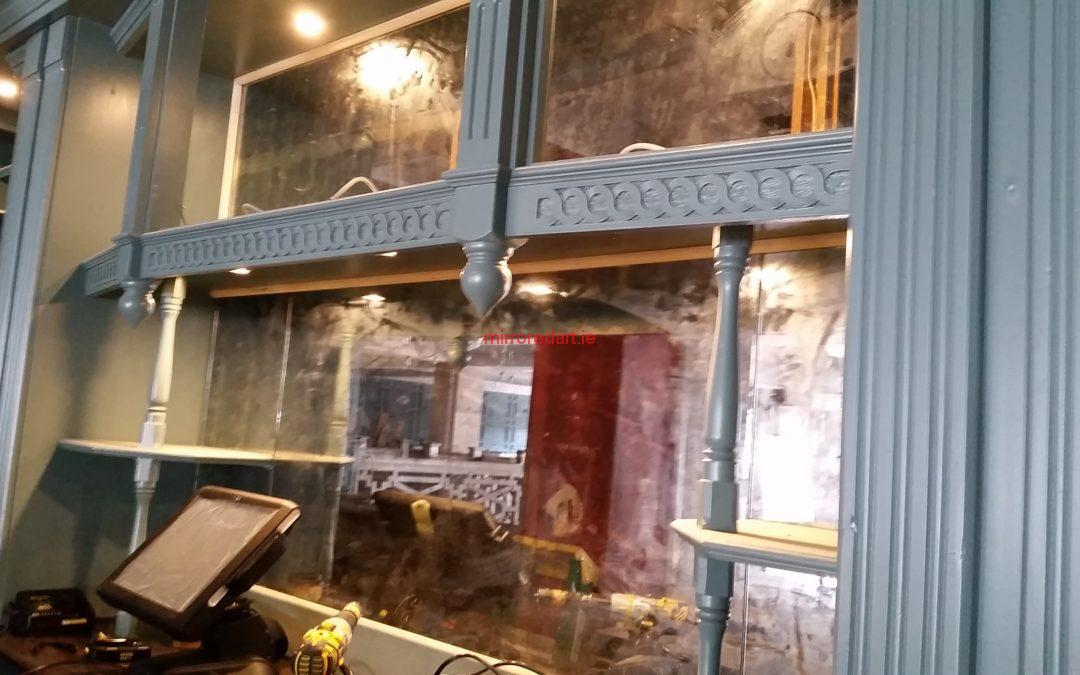 Antique mirror for behind the bar and seating areas  Farmer Browns Milltown South Dublin