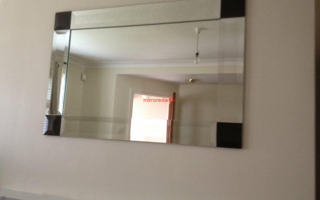 Bevelled framed mirror with bevelled black mirror corners  Knocklyon Dublin